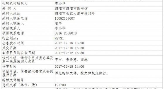 四川省绵阳市绵阳市图书馆智能自助借还书机采购项目竞争性谈判成交公告