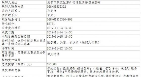 四川省成都市双流区图书馆资源及期刊采购项目(第二次)竞争性谈判成交公告