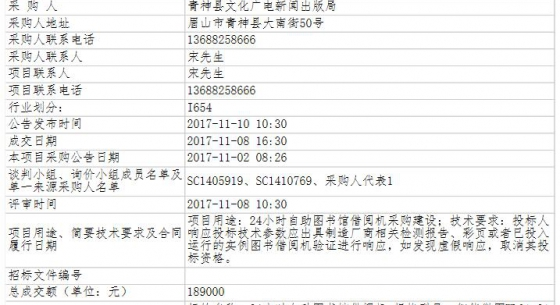 四川省眉山市青神县文化广电新闻出版局24小时自助图书馆借阅机采购建设项目询价成交公告