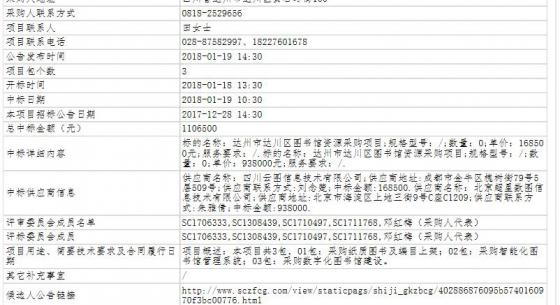 四川省达州市达川区图书馆资源采购项目公开招标中标公告